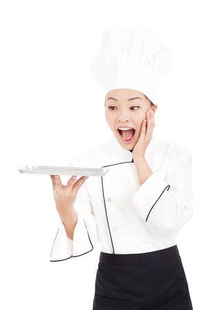 unbelievable: chef con bandeja de mujer asi�tica incre�ble Foto de archivo