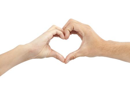 twee handen maken hartvorm op een witte achtergrond