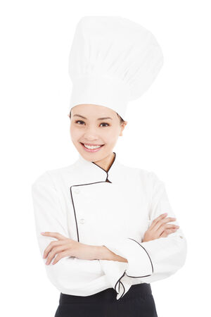 asian young pretty woman chef standing in studio photo