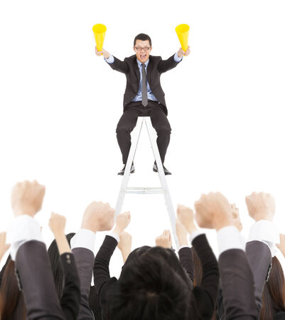businessman using a megaphone: success businessman using cheer megaphone celebrating with team