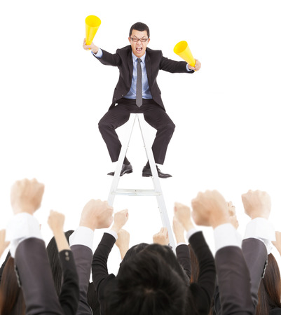 excited businessman yelling with success business team photo