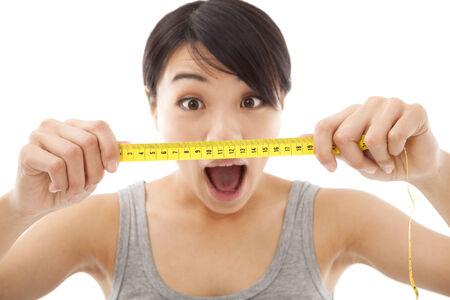 unbelievable: unbelievable woman looking at the mesurement result