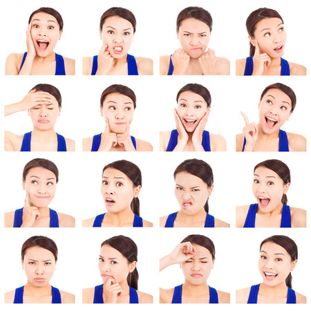anguished: asian young woman facial expressions Stock Photo