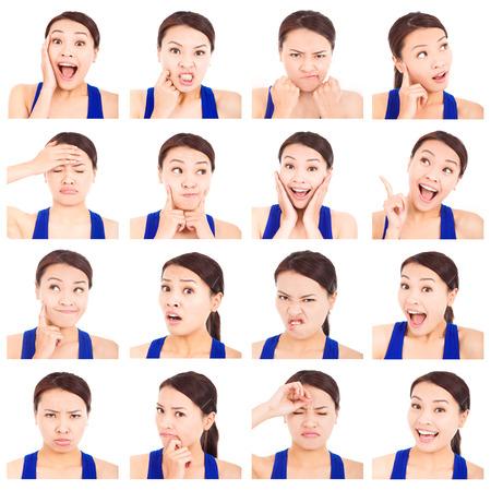 gestos de la cara: las expresiones faciales de la mujer joven asi�tica