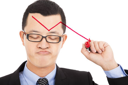 disappoint: businessman draw red  arrow down and feel disappoint
