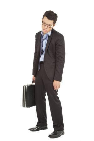 unconcerned: empresario exceso de trabajo y agotado celebraci�n malet�n