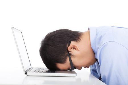 young businessman too overwork to asleep  photo