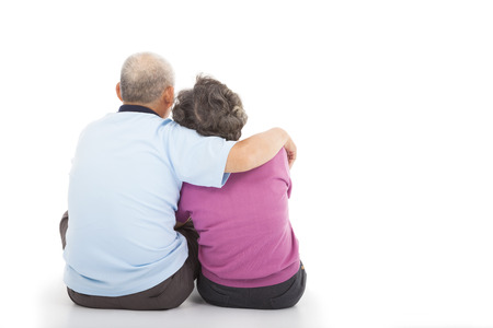 human back: Happy closeness senior couple sitting on the floor