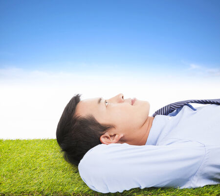 lying on grass: young businessman lying on a meadow and contemplating