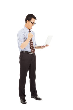 clench: computer engineer is  standing and clench his hand