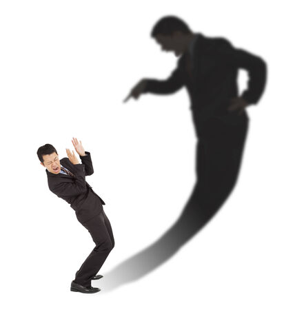freaked: businessman was scared  person in his inner emotions Stock Photo