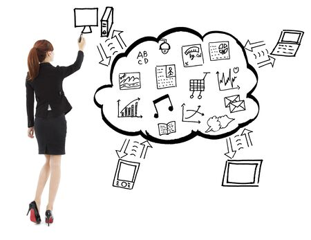 Business woman drawing the mobile equipment application Stock Photo - 26273950