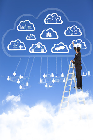Businessman drawing  a cloud computing applications concept photo