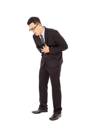 businessman with strong stomach pain photo