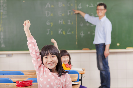 put up: pupils raising hands during the lesson with teacher