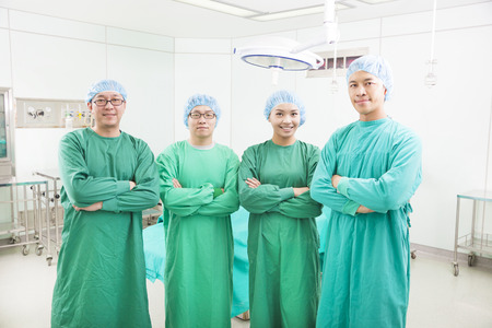 professional surgeon teams standing in a surgical room photo