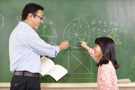 school teachers: Teacher and student discussing math questions