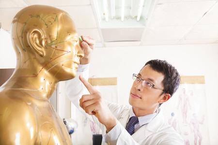Chinese geneeskunde arts punt acupunt op de menselijke model