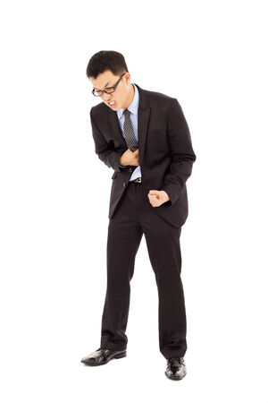 dysentery: businessman with strong stomach pain Stock Photo