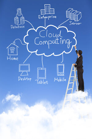 business man draw cloud computing chart photo