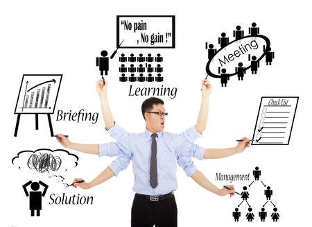 diligente: empresario horarios o multitaskings diarias ocupadas