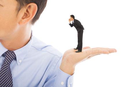 whisper: businessman whisper about secret Stock Photo