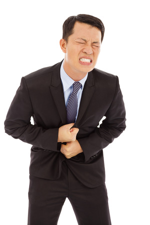 Businessman have stomach pain  Stock Photo