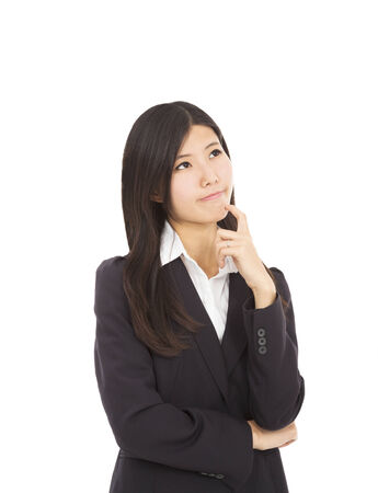 businesswoman is thinking the solutions photo