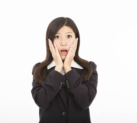 Businesswoman surprised or scared expression photo
