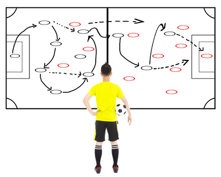 soccer player holding a ball and thinking attack tactics photo