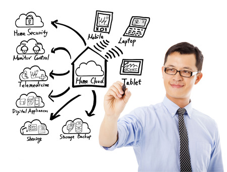 Business man drawing home cloud technology concept photo
