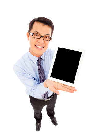 businessman using a tablet to display photo