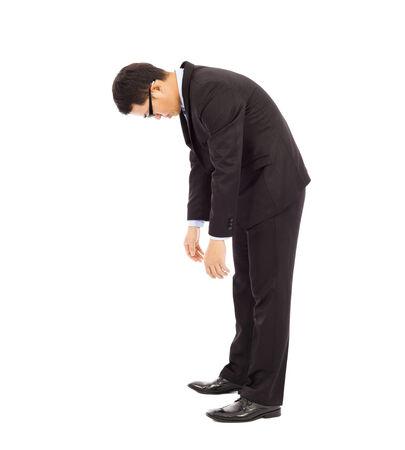 unconcerned: hombre de negocios agotado escalinata