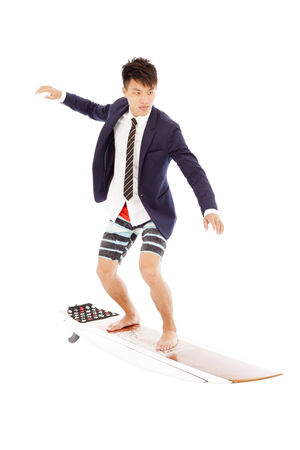 businessman practice surfing pose photo