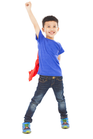 asian happy  kid raise hand
