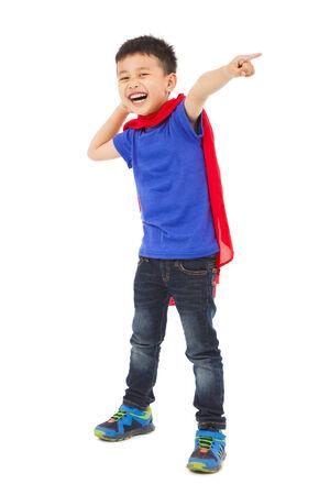 gelukkig kind ergens te wijzen Stockfoto