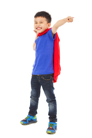 funny superhero kid pointing and making a fist photo