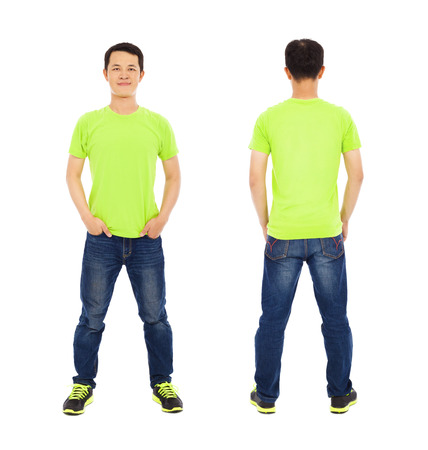 asian model: potrait of young man standing ,front and back