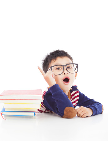 little boy think out a good ideas Stock Photo