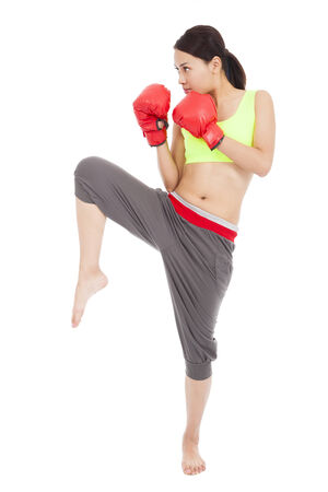 pretty woman with the red boxing gloves and pose photo
