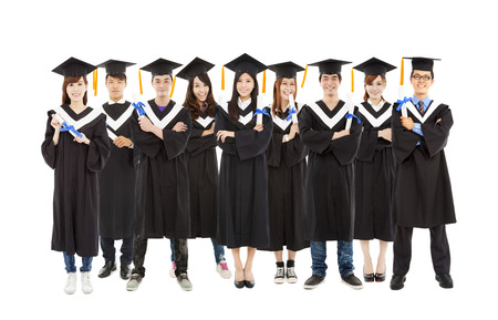 All graduation student standing a row Stock Photo - 27334319