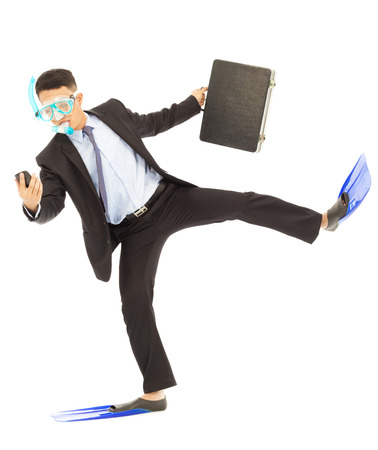 busy businessman put on scuba gear  to work