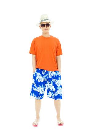 swimming shorts: sunny man wearing beach short  and Flip Flops