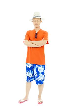 beach wear: full length sunny man standing and across hands Stock Photo