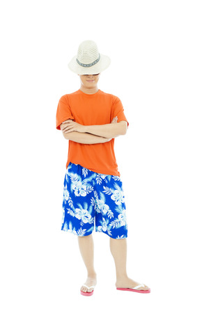 beach wear: sunny man standing and across hands Stock Photo
