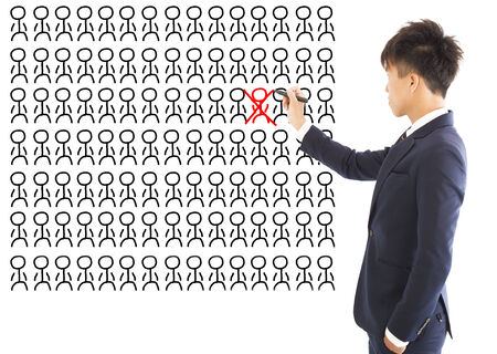 wrong: business manager omit a wrong person Stock Photo