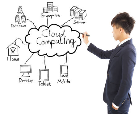 business man drawing cloud computing chart photo