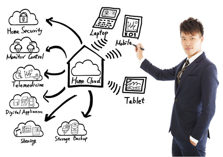 Businessman drawing a home cloud technology concept photo