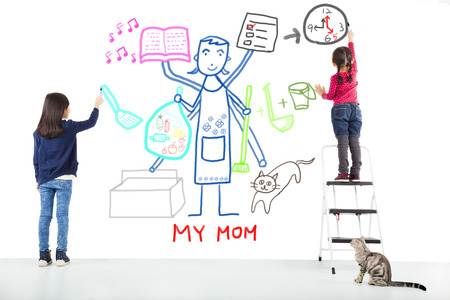 hard working woman: two kids drawing her mother working tasks Stock Photo