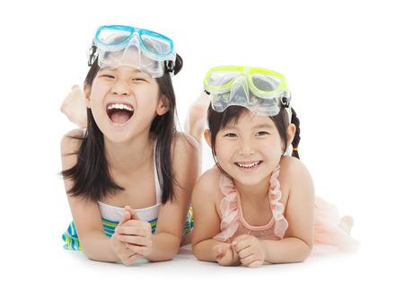 swim mask: happy little girls with swimsuit